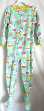 GIRLS 5T 5 GREEN COLORFUL CUPCAKES ZIPPER UP COZY FLEECE SLEEPER NWT CARTER'S