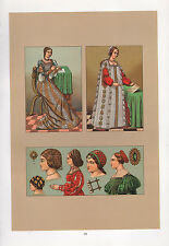 VINTAGE FASHION COSTUME PRINT ~ ITALY 15th CENTURY MILANESE LADY HAIRNET DRESSES