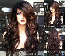 USA: Curly Brown Black Ombre HEAT OK Auburn Lace Front Dark Root Wavy WIG