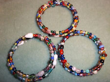 SET of 3 Hand Crafted MULTI-COLOR Memory Wire Wrap BRACELETS GLASS BEADS G-05