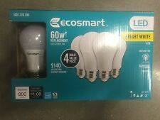 (4 Pack ) EcoSmart 60W = 9W Bright White A19 Energy Star Dimmable LED Light Bulb
