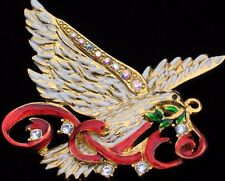 CHRISTOPHER RADKO LOVE PEACE OLIVE BRANCH SOARING  FLYING DOVE BIRD PIN BROOCH