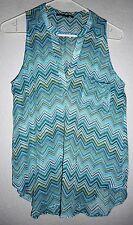 American Dream Chevron Stripe Top Summer Size Small Blue Multi Color  Pretty!!