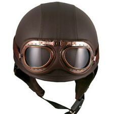 Vintage Scooter Goggles OPEN FACE HALF helmets,Synthetic Leather Brown,(56~59cm)