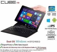 "Cube i10 10.6"" Windows 10 & Android Tablet PC With Keyboard touchpad 2GB/32GB"