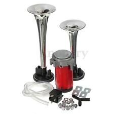 12V CHROME TWIN TONE AIR HORNS KIT FOR CAR/BOAT/VAN/TRUCK LOUD HORN/TRUMPET