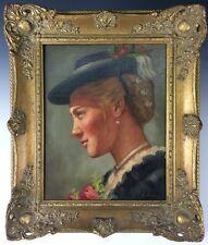 Portrait einer jungen Dame süddt. Tirol Ölgemälde signiert Öl/Lwd.