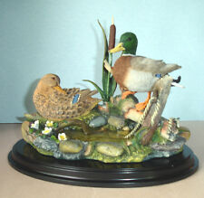 Lenox MALLARDS AT CATTAIL POND Hand Painted Wildlife Sculpture & Stand