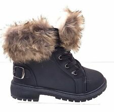 Ladies Warm Winter Faux Fur Girls Lace Up Desert Boot Fur Lined Shoe Size 3 to 8