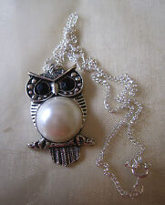 Silver Plated Owl with Black Eyes and Pearl Stomach Charm Chain Necklace