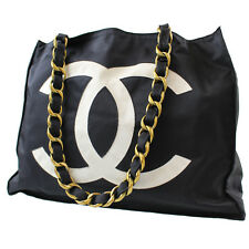 CHANEL CC Chain Shoulder Bag Black Nylon France Vintage Authentic #5471 W