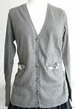 New Simply Vera Sweater Cardigan Vera Wang Size PM Grey tone 100% Cotton