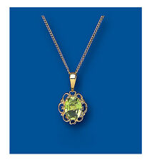 "Yellow Gold Real Peridot Fancy Pendant With 18"" Chain  UK Made Hallmarked"