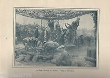 "Original 1917 Anzac Print-Antique Vintage ""A Siege Battery in Action: Firing a"