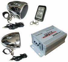 "NEW Pyle PLMCA40 3"" Motorcycle Speakers AMP USB/SD MP3-iPod-In FM Radio, Remote"