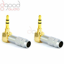 2 x High Quality Right Angle Gold Plated 3.5 mm Stereo Jack Plug Connector 3.5mm