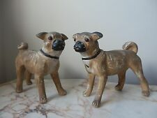 A Rare Pair Of Antique Early Chalkware Pug Dogs Figurines Ornaments