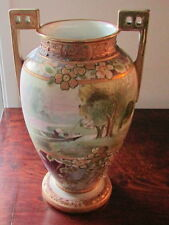 "Great Huge 12.8"" NIPPON SCENIC VASE MAN in Boat X-Cond. Enamels & Beads 'M' MARK"