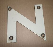 1960's VINTAGE OLD PORCELAIN SIGN LETTER N HOME DECOR GAS OIL