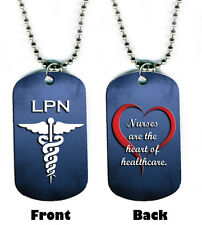 DOG TAG NECKLACE - Nurse LPN Heart Healthcare Medical 2-sided bead chain jewelry