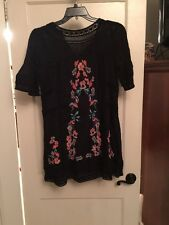 Free People Black Perfectly Victorian Embroidered Shift Dress