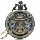 New Vintage Cute Hollow Skull Bronze Pocket Watch Chain Necklace Pendant Gifts