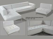2 PC Modern contemporary White Leather Sectional Sofa w/ chrome base #1008