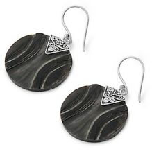 Silver Earrings with Stone Earrings Size 28 mm Stone Abalone sterling silver