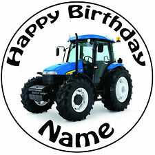 "Personalised Modern Blue Tractor Icing Cake Topper Round Easy Pre-cut 8"" (20cm)"
