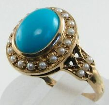 LOVELY 9CT 9K GOLD 9mm x 7mm TURQUOISE & SEED PEARL CLUSTER RING FREE RESIZE