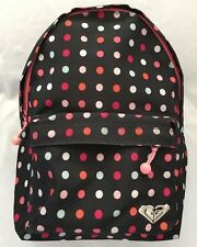 "ROXY Pink Dotd Fabric 4X9X12"" Back Pack Purse Handbag with 2 Compartments"