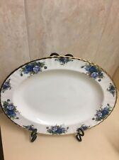 "NEW Royal Albert MOONLIGHT ROSE Oval Serving Platter 13.5"" Gold Trim New/tags!!!"