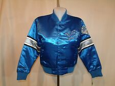 Detroit Lions Girl's Youth Kids Blue Embroidered Shiny Jacket  LARGE