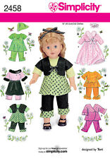 SEWING PATTERN SIMPLICITY 2458 18 inch (45.5cm) DOLL CLOTHES