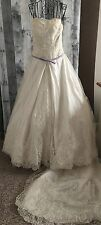 Brushed Satin Sequin Beaded Lace Wedding Bridal Gown Dress Purple Trim Medium