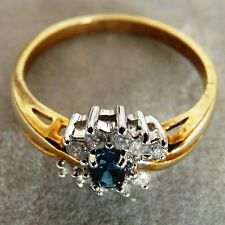 ** NOVITÀ ** ORO 9 CARATI sky-blue Topazio Diamanti COCKTAIL RING size Q 8