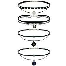 4Pcs Women's Black Velvet Choker Heart Collar Fashion Necklace with Charms
