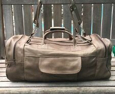 Authentic 100% leather handmade Pale Brown  travel/ gym men's duffle bag