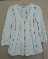 Free People Crochet / Knit Cardigan Floral Fabric Buttons Soft Aqua SZ XS
