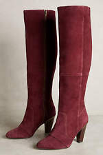 NIB Anthropologie Farylrobin Jane Tall Boots - Suede - Wine Magenta Red - 7.5 8