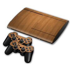 PS3 PlayStation 3 Super Slim Skin Design Sticker Screen protector Set Wood Motif