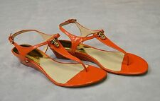 NEW MICHAEL KORS Hamilton T Strap Thong Golden Logo Sandals Wedge Shoes Sz 9.5 M