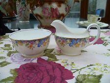 Pretty Vintage AYNSLEY inglese Cina Bricco Latte & Zuccheriera Fiori Misti 3914