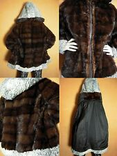 Real Mink Fur Coat with Silver Grey Real Lamb Persian Hood Beautiful Coat!