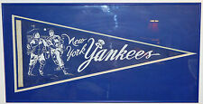BEAUTIFUL ORIGINAL ANTIQUE 1950s NEW YORK YANKEES PENNANT FULL SIZE FRAMED NICE!