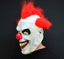 Creepy Evil Scary Halloween Clown Mask Rubber Latex RED Haired Clown FREESHIP