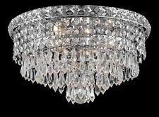 "Palace 5th Ave 14"" 4 Light Crystal Chandeliers Flush Mount Light - Chrome"