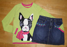 GYMBOREE COLOR HAPPY GREEN & PINK PUPPY LS TOP DENIM SKIRT GIRLS 10 FALL