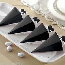 50 Elegant BLACK Wedding Engagement Party Gift Favour Pyramid Cone Boxes