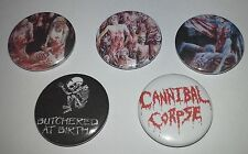 5 Cannibal Corpse pin badges - Black Death Metal Butchered at Birth The Bleeding